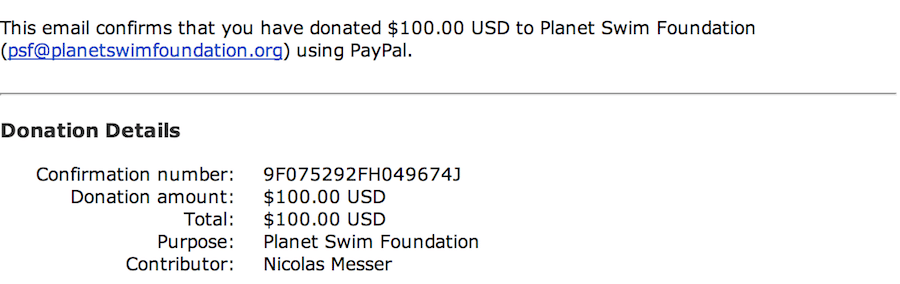 Planet Swim Foundation Donation 2014
