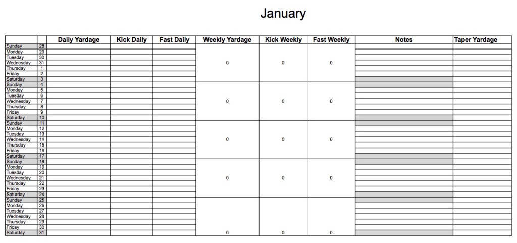 Ridley High School Swimming Seasonal Planning Worksheet
