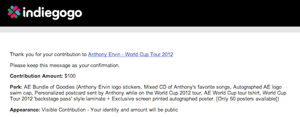Donation Anthony Ervin 2012 World Cup Tour