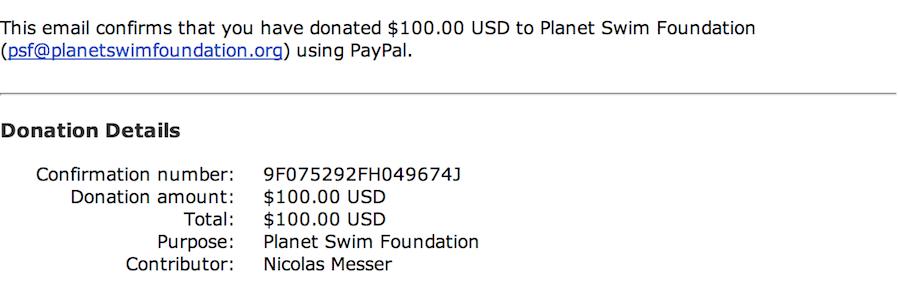Planet Swim Foundation Donation 2014